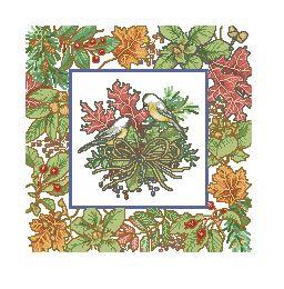 Схема Осенняя подушка с гнездом / Autumn Chickade