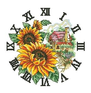 Схема Часы с подсолнухами