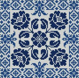 Схема Китайская голубая подушка