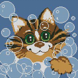 Схема Подушка «Кот в пузырях»