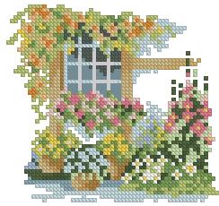Схема Окно с пышными цветами