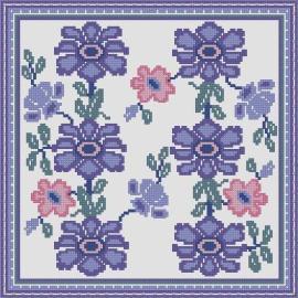 Схема Подушка с голубыми цветами