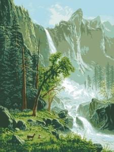 Схема Каскад / Peisaj cu cascada
