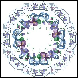 Схема Фиолетовые кружева / Violet and Lace Clock