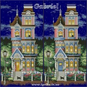 Схема Викторианский шарм (свет в окнах, открытая красная дверь, не оригинал) 2 варианта