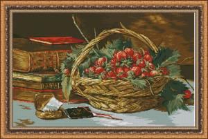 Схема Корзина с фруктами и книги