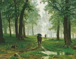 Схема Шишкин. Дождь в дубовом лесу