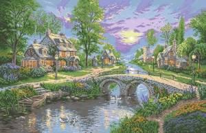 Схема Пейзаж с мостом