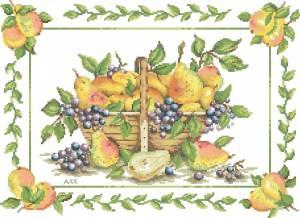 Схема Корзина с грушами и виноградом