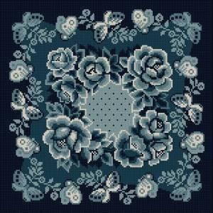 Схема Подушка с розами (гжель)