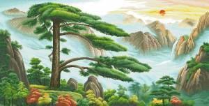 Схема Восточный пейзаж с сосной