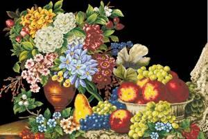 Схема Эффектные цветы с фруктами