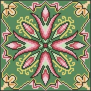 Схема Подушка Цветы на зелёном