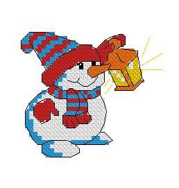 Схема Снеговик с фонариком