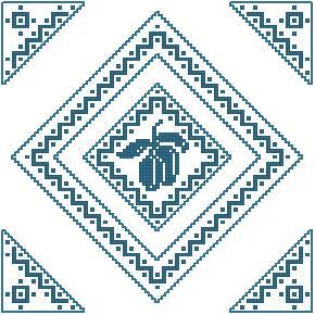 Схема Салфетка Синий чернослив / Blue Prunes Table Topper
