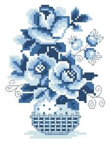 Схема Цветы в корзинке (ГЖЕЛЬ)