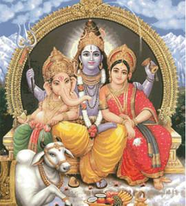 Схема боги Шива, Ганеша, Парвати