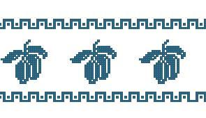 Схема Полотенце Синий чернослив / Blue Prunes Towel Border