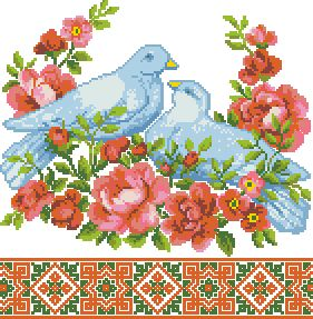 Схема Рушник с голубями