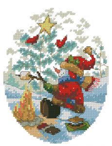Схема Игривые снеговики у костра