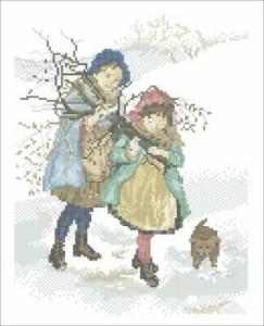 Схема Зимние хлопоты, сбор хвороста
