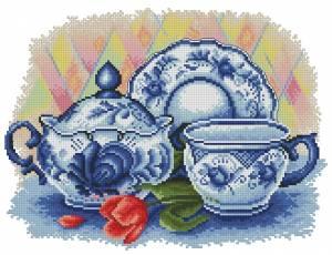 Схема Посуда и тюльпан (гжель)