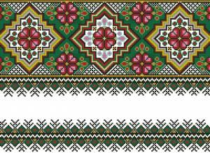 Схема Узор, цветы на зелёном
