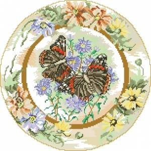 Схема Бабочки адмирал с ромашками