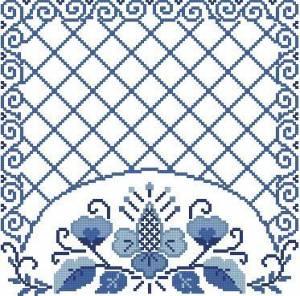Схема Салфетка с узором (гжель)