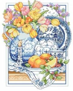 Схема Гжель и тюльпаны