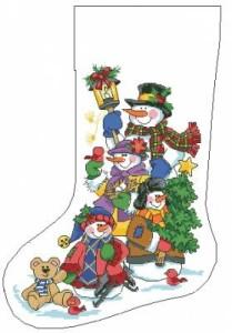 Схема Новогодний сапожок (снеговики)