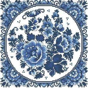 Схема Гжель. Голубые цветы