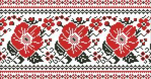 Схема Узор цветочная лента маки