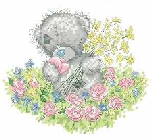 Схема Мишки Тедди, цветы