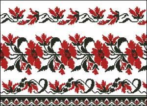 Схема Узор, красные цветы