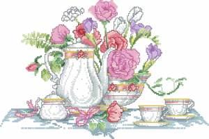 Схема Сервиз и цветы (стиль жизни)