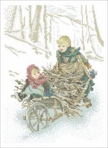 Схема Зимние хлопоты, дети и сани