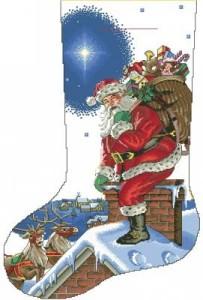 Схема Рождественский сапожок, санта и олени