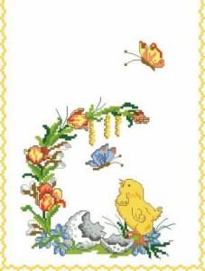 Схема Пасхальная дорожка с цыпленком и бабочками