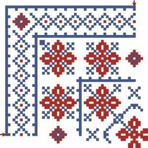 Схема Салфетка, цветы на голубом