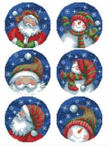 Схема Рождественские мотивы. Санта и снеговик