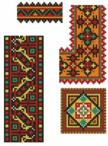 Схема Необычный орнамент, ленты и квадрат