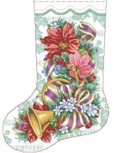 Схема Праздничный сапожок. Цветы и колокольчик