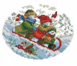Схема Игривые снеговики на горке