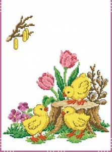 Схема Пасхальная дорожка с утятами и тюльпанами