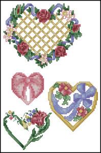 Схема Сердечки с цветами. Любовь