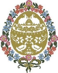 Схема Пасхальное яйцо в цветочном венке