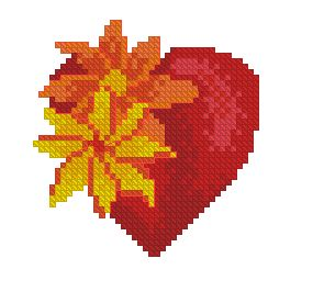Схема Сердечко с цветами