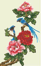 Схема Птицы на цветущих ветках 2