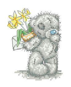 Схема Мишки Тедди. С нарциссами за спиной